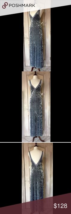"""Free People silver gray Crushed Velvet Stretch  M Free People Intimately Free People silver gray Crushed Velvet Stretch Column Maxi Dress  by Lilac Wine back & front Deep V neck with high center slit  New With Tags  *  Size:  Medium retail price:  $138.00  62% polyester * 29% nylon * 9% spandex 100% nylon trim  36"""" around bust 38"""" around waist relaxed 61"""" long Free People Dresses"""