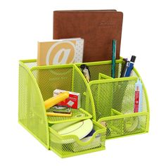 MyGift Multipurpose Green Metal Mesh 6 Compartment Desk Organizer Office Supply Caddy
