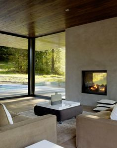 Int Fireplace (with glass both sides!) - Dowling Studios Marra