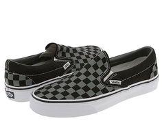Vans Checkerboard Slip Ons. Black & Pewter. Womens 9.