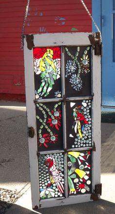 Mosaic Stained Glass bird Window via Etsy.