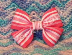 Pink and white striped basic hair bow by PeekABowBows on Etsy, $3.00