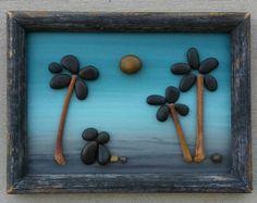 Pebble Art / Rock Art couple honeymoon gift di CrawfordBunch