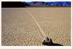 "Located in one of the flattest places on the face of this planet are the strange and unexplained Sailing Stones of Racetrack Playa – Death Valley – California – USA. Once a year the ""Playa"" or flat desert pan experiences short winter rains and becomes slippery as the hexagonal desert floor turns back to mud. During this time the boulders and rocks move leaving clearly visible tracks behind them."