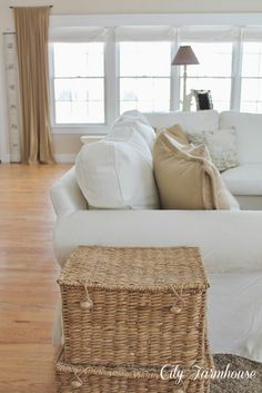 City Farmhouse: Real Life With A White Slipcover & Keeping It Pretty **Love these baskets! Ektorp Sofa, My Living Room, Living Spaces, Clean Sofa, City Farmhouse, White Couches, Stores, Slipcovers, Slipcover Sofa
