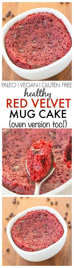 Healthy Red Velvet Mug Cake- Fluffy moist yet tender on the outside this mug cake takes 1 minute but has an oven option too! Perfect for Valentine's Day and Mother's day too! {vegan gluten free paleo recipe options}