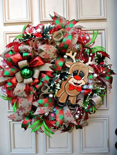 Mesh Christmas Wreath Reindeer Door Holiday Decor Home