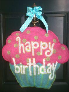 Painted Burlap Cupcake Door Hanger Happy by thelemonadestand11