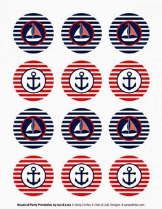 Nautical Party Printables from Ian & Lola Designs Nautical Cupcake, Nautical Party, Vintage Nautical, Baby Shower Marinero, Sailor Party, Sailor Birthday, Princess Birthday, 2nd Birthday, Shower Banners