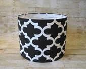 Lamp Shade Drum Lampshade Pendant Moroccan Tile Geometric Trellis Black and White