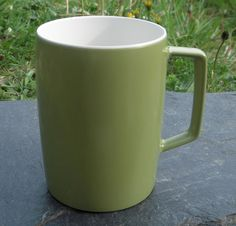 1 Green Melaware Mug with White Interior Vintage/Retro Picnic Camping VW Camper