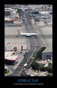 GIBRALTAR.  I've been stuck in this traffic waiting for a plane to land.