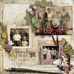 Families Are Tied Together with Heartstrings ~ Simply designed 'through the years' heritage digi page.