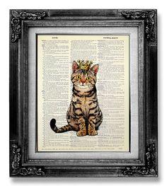 Cat Decor, CAT Painting, TABBY Cat Wall Art Cat Lover Gift, Cat Wall Decor, WHIMSICAL Cat Art, Cool Cat Artwork Cat Poster, Sitting Cat King...