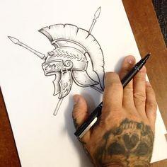 "146 Likes, 3 Comments - Fabio Satori (@fabiosatori) on Instagram: ""Back to the work #tattoo #helmet #romanhelmet #tatuagem #romanhelmettattoo #fabiosatori…"""