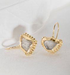 Gold Moonstone Earrings 22k Gold Earrings Moonstoe by GefenJewelry