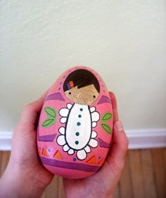 handmade wood folk art .. hand painted egg baby