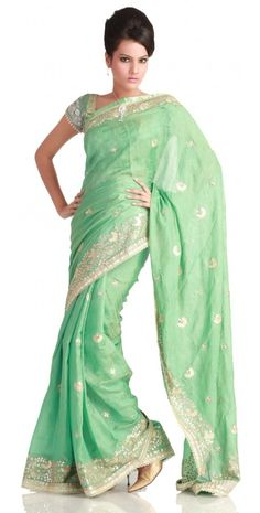 SEA GREEN SAREE WITH MOTIFS