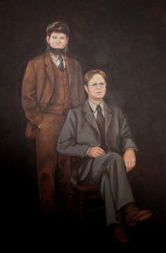 dwight and mose painting | Painting of Dwight and Mose characters from the show. I worked ...