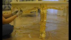 Золочение мебели.Золочение стола.Поталь.Глянец.Декоративная отделка  меб... Feuille D'or, Dragon Artwork, Entryway Tables, Wood, Handmade Ideas, Diy, Furniture, Electronics, Home Decor