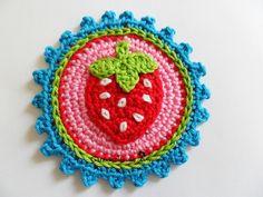 Erdbeere Button / Aufnäher