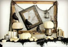 Go vintage and decorate with ravens and skulls for an effective spooky but grown-up Halloween