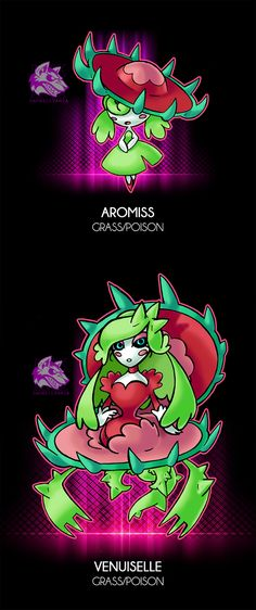 "[Aroma-Miss] -Grass/Poison -The Carnivorous Plant Pokemon -Ability: Cute Charm/Aroma Veil - Flirtatious(HA)* -Dex: ""This pokemon s. Sin of Lust Plant Pokemon, Pokemon Fake, Pokemon Oc, Pokemon Pokedex, Pokemon Memes, Pokemon Fan Art, Pokemon Fusion, Cool Pokemon, Skylanders"