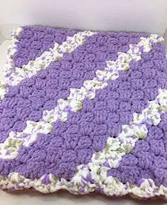 Corner to Corner Lilac Crochet Baby Blanket, Super Soft Big Bulky Yarn Baby Afghan, Bulky Baby Throw,  Chenille-style Blanket, CA#17 by MonaSewingTreasures on Etsy