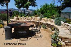 "Built-in stone bench also works as an enclosing ""wall."" The Dudan Garden: San Francisco Garden Bloggers Fling | Digging"