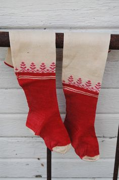 Antique Socks PAIR Red & WHite Christmas by theprimitivehome