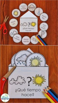 Spanish Interactive Notebook Weather Activity and Game Spanish Weather Vocabulary Interactive Notebook. Play games or practice weather vocabulary with this hands-on resource for beginning/novice language learners. Spanish Classroom Activities, Preschool Spanish, Spanish Lessons For Kids, Learning Spanish For Kids, Spanish Basics, Spanish Lesson Plans, Spanish Language Learning, Teaching Spanish, Learn Spanish