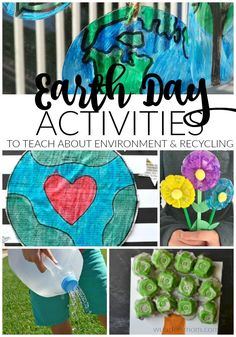 earth day crafts and activities that will teach kids all about the environment and the importance of going green, recycling, and sustainable living Earth Day Activities, Spring Activities, Fun Activities For Kids, Craft Activities, Preschool Crafts, Kids Crafts, Therapy Activities, Outdoor Activities, Earth Day Projects