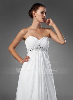Corte imperial Escote corazón Barrer de tren Chifón Vestido de novia con Volantes Bordado (002004156)