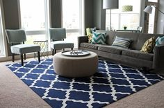 Gray and navy living room