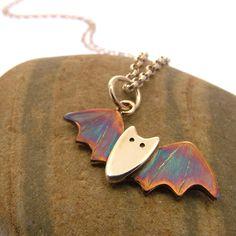 Handmade sterling silver bat necklace