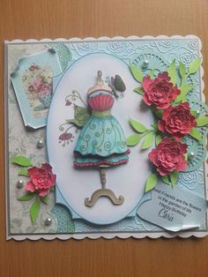Todays card topper from Katy Sues designs Fabulous fashions ..doiley and flowers cut on silhouette :-D