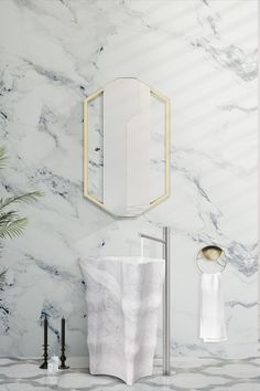 This beautiful irregular shaped piece is carved from the finest marble selection out there! When looking for the perfect element to distinguish your bathroom project, the Eden Stone freestanding is a unique and starling option! Classic Bathroom, Modern Bathroom, Minimalist Bathroom Design, Luxury Mirror, Unique Mirrors, Bathroom Design Inspiration, Bathroom Trends, Bathroom Designs, Bathroom Ideas