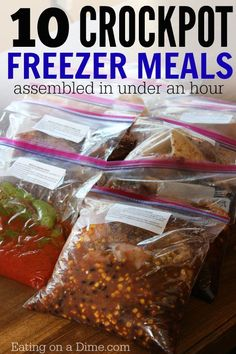 CROCKPOT freezer meals ready in under an hour.  Another awesome set of 10 crockpot freezer meals you can make in under 1 hour!