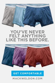 Underwear engineered for comfort.  We created our own fabric to make every pair of Mack Weldon underwear unlike anything you've ever worn. If you don't love your first pair, we'll send a different size, style or issue a refund – no questions asked, and you can even keep the pair you tried on.