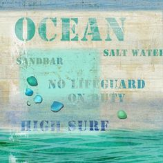 Ocean Words Beach Art - great colors for a summer beach cottage!