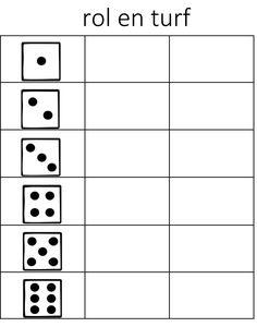 Met dit spelleren de kinderenom op de juiste manier te turven. Benodigdheden – Voor elk kind een werkblad – potlood – dobbelsteen – timetimer Spelregels – Zet de timetime op twee minuten. – Elk kind gooit met een eigen dobbelsteen. – Bij elk getal dat ze gooien zetten ze een turfstreepje. – Na twee minuten tellen ze de turfstreepjes bij elk cijfer op.