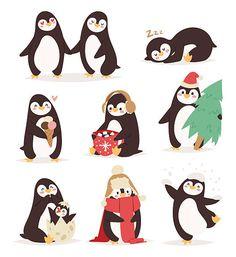 Penguin set vector by Vectorstockerland on Penguin Cartoon Drawing, Pinguin Drawing, Penguin Art, Penguin Love, Penguin Images, Pinguin Illustration, Baby Penguins, Free Vector Graphics, Vector Art