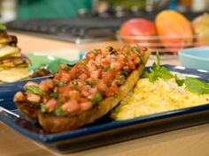 Soft Scrambled Eggs with Romano & Pepper + Tomato Bruschetta by Bobby Flay #brunchatbobbys #tuscanbrunch