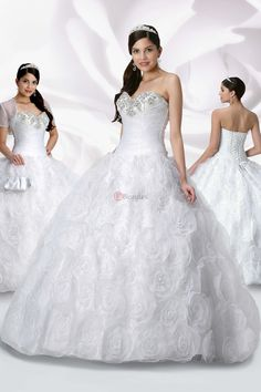 Plus Size Quinceanera Dresses White Ball Gown Organza