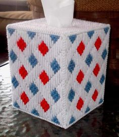 Red, White, and Blue Tissue Box Cover by TissueMart on Etsy Plastic Canvas Ornaments, Plastic Canvas Tissue Boxes, Plastic Canvas Christmas, Plastic Canvas Crafts, Tissue Box Holder, Tissue Box Covers, Plastic Canvas Stitches, Plastic Canvas Patterns, Tissue Box Crafts