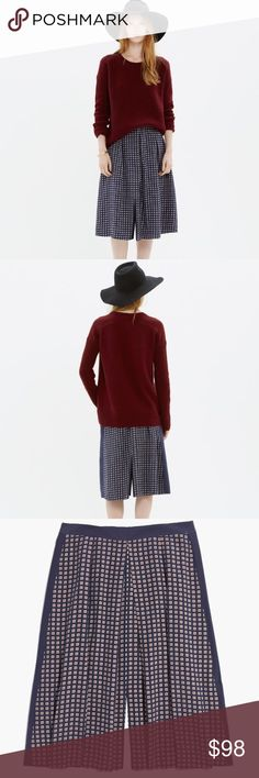 """Madewell Silk Skirt Cool pleats. Sleek colorblocking. An eye-catching foulard print, inspired by vintage men's ties and handkerchiefs.  Such a fun skirt.  Wear this with a pair of booties to the office or a night out.  Full midi skirt. 26 1/4"""" long. 9 1/2"""" front slit, back slit. Silk. Back zip. Dry clean. Madewell Skirts Midi"""