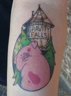My first tattoo - Waddles the pig from Gravity Falls by Kara Klenk at Texarkana Ink