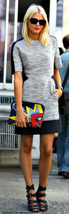 A black and gray color-block dress and comic art bag by Phillip Lim were celebrated at fashion week activities in NYC.