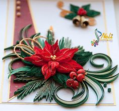 Neli Quilling Art: Preparation for Christmas _ # 2 Quilling Christmas, 3d Christmas, Christmas Poinsettia, Christmas Wreaths, Xmas, Christmas Ornaments, Quilling Videos, Neli Quilling, Paper Quilling