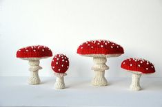 *** PLEASE NOTE: This is a digital crochet pattern, not the physical item itself *** Get ready for autumn with this crochet pattern for this set of four lovely fly agarics! ^^ Now you can make your own and decorate your home right in time for autumn or Halloween. This pattern is very clear and easy to follow. Each fly agaric made from it will make a great home decoration! Imagine placing a couple of them near a fireplace or in the windowsill. :) Approx. size of finished items: when made…